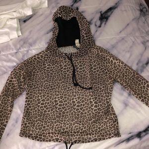 Leopard print sheer hoodie
